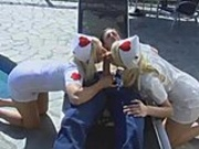 Two hot nurses fuck guy outdoors