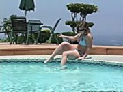 Two Gorgeous Lesbos Fucking Poolside