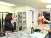 Tight blonde babe convinced to fuck with dude for cash