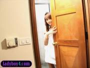 Petite teen ladyboy solo masturbation in a bathroom