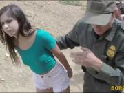 Perky boobs babe gets her twat nailed by border patrol agent