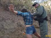 Mexican BP agent fucked natural tits brunette babe outdoors