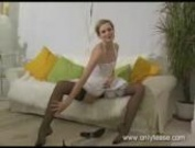 Stunning leggy blonde Joceline teases in black stockings