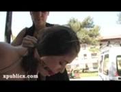 Bondage Susana Abril in public
