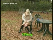 Woman pissing on the panties