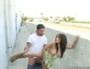 Renae Cruz has sex outside.