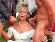 Slutty Bride Gets Gangbanged Outdoor