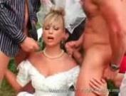 Slutty Bride Gets Gangbanged Outdoor