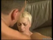 Blonde granny gets the couch sex she deserves