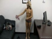 Blonde First-Timer Cums Clean In Her Interview