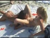 Ebony and blond lesbian fun in the sun