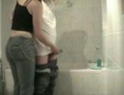 Woman Jerks man in washroom