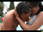 Sexy Brazilian Babe Cums Over Hung Cock By The Pool