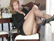 Sammy in high heels and sheer pantyhose