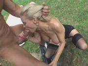 Desperate Diamond Foxxx Rides Hard Guy Outdoors