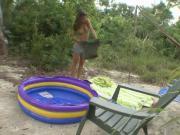 Good-Looking Chick Changing Bikini Outdoors