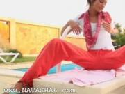 Beautiful Natasha teasing at pool