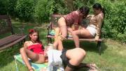 4 Amazing Babes Play Together Outdoors