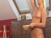 Oiled up and pussy fucked
