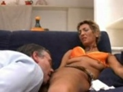 tanned mature woman gets pleasured