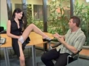 Office girl sucks on hard cock