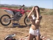 Sexy Motorcycle Slut Blows Dick Outdoors!