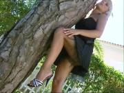 Beautiful babe outdoor tease