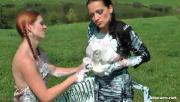 Kinky Chicks Mess Up Each Other Using Whipped Cream Outdoors