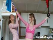 Slim Lesbian Bound  Dildoed By Girlfriend
