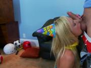 Hot Blonde Girl Gives Head And Nails Shaft