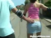 Sexy Slut Pounds Penis In Public