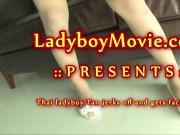 Ladyboy Tan Jerking Off