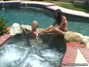 Erotic Brunette  Blonde Frolic In Swimming Pool