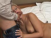 Horny Blonde Slut Gives BJ To One Big Cock And Her Butt Is Extremely Hammered By It