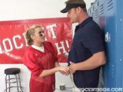 Young Blonde Teen Worships Football Coach\'s Cock