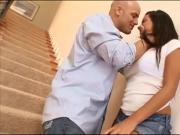 Brunette lovely babe fucked on the stairs