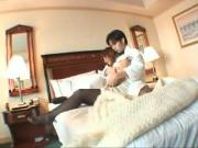 Hotel room Asian hottie gets her lingerie taken off