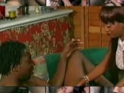 Ebony babe sucks a white pole