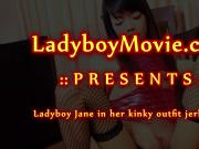 Ladyboy Jane With Dildo In Ass Strokes Cock