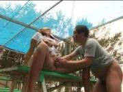 Japanese couple does some mutual masturbation n then has sex outdoors