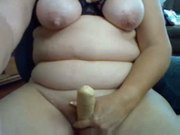 Chubby Mature working dildo