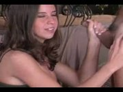 brunette gives great handjob