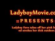 Ladyboy Fern Takes Off Bikini And Jerks Off