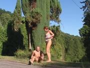 Horny Huge-Hootered Whore Ejaculates Outside