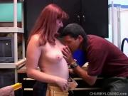 Eager Redhead Chick Slams A Huge Hard-On