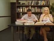 Hot Teen School Girl Seduces Nerd in Library