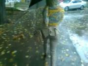 Blonde romanian amateur walking down the street