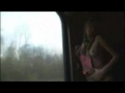 Young Ukraine blond teen on a train
