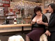 Brunette BBW-Milf fucked in Bar