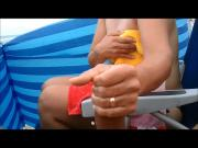 Compliation of Beach handjob and big cumshots